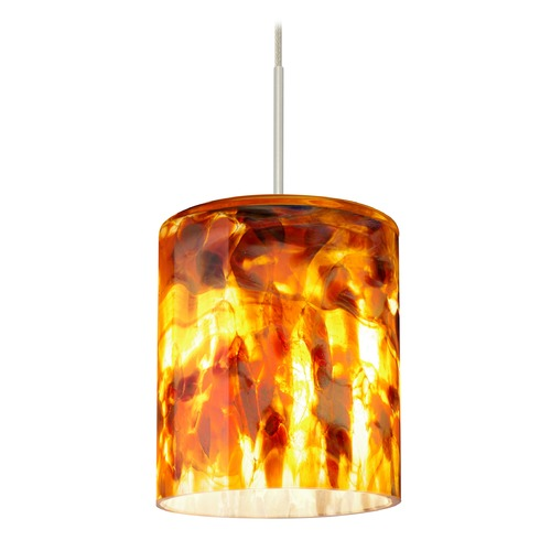 Besa Lighting Besa Lighting Falla Satin Nickel LED Mini-Pendant Light with Cylindrical Shade 1XT-FALLCF-LED-SN