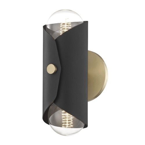 Mitzi by Hudson Valley Mid-Century Modern Sconce Brass Mitzi Immo by Hudson Valley H172102-AGB/BK