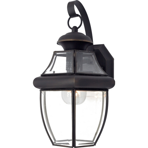 Quoizel Lighting Outdoor Wall Light with Clear Glass in Medici Bronze Finish NY8316Z