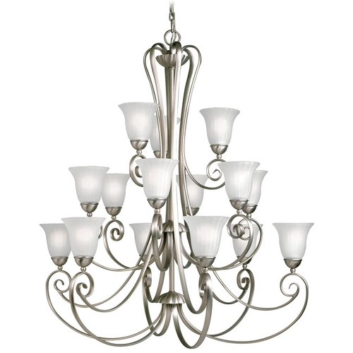 Kichler Lighting Kichler Chandelier with White Glass in Brushed Nickel Finish 1829NI