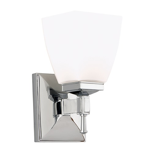 Hudson Valley Lighting Modern Sconce with White Glass in Polished Chrome Finish 651-PC