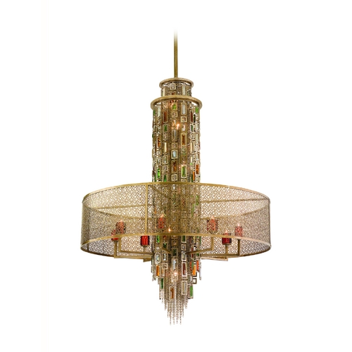 Corbett Lighting Drum Pendant Light Brown Tones Cage Shade Riviera Bronze W/sil finish 123-716