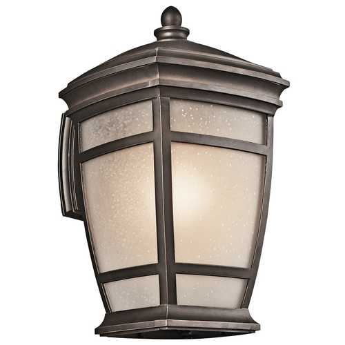 Kichler Lighting Kichler Outdoor Wall Light with White Glass in Rubbed Bronze Finish 49272RZ