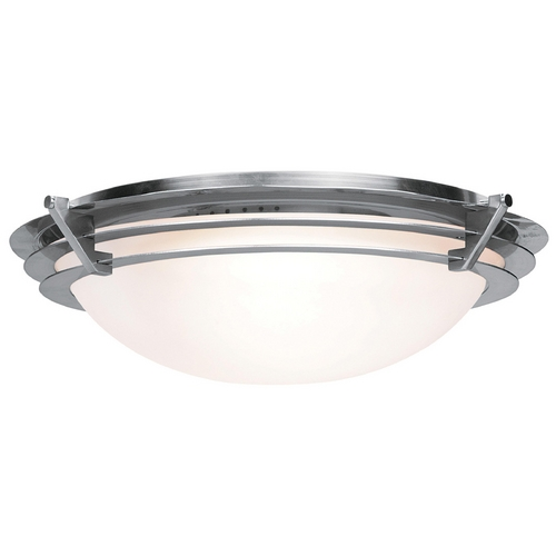 Access Lighting Modern Flushmount Light with White Glass in Brushed Steel Finish 50092-BS/FST