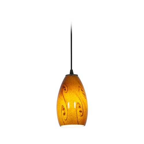 Access Lighting Modern Mini-Pendant Light with Amber Glass 28012-1C-ORB/ASKY