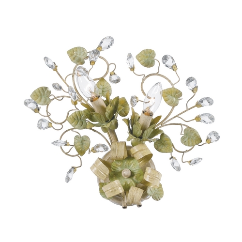 Crystorama Lighting Crystal Sconce Wall Light in Champange Green Tea Finish 4842-CT