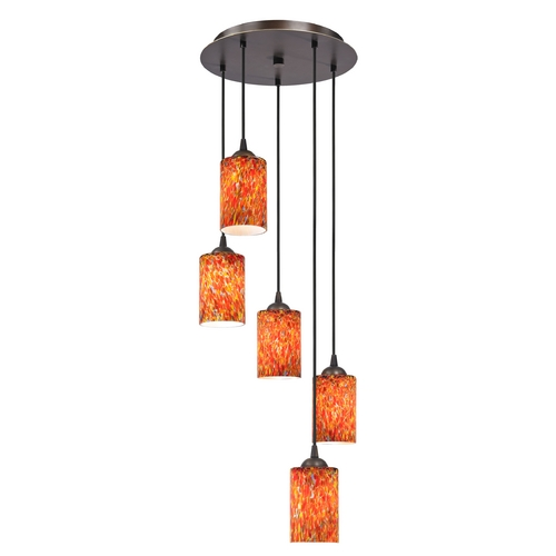 Design Classics Lighting Modern Multi-Light Pendant Light with Art Glass and 5-Lights 580-220 GL1012C