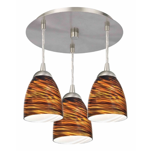 Design Classics Lighting 3-Light Semi-Flush Ceiling Light with Brown Art Glass - Nickel Finish 579-09 GL1023MB