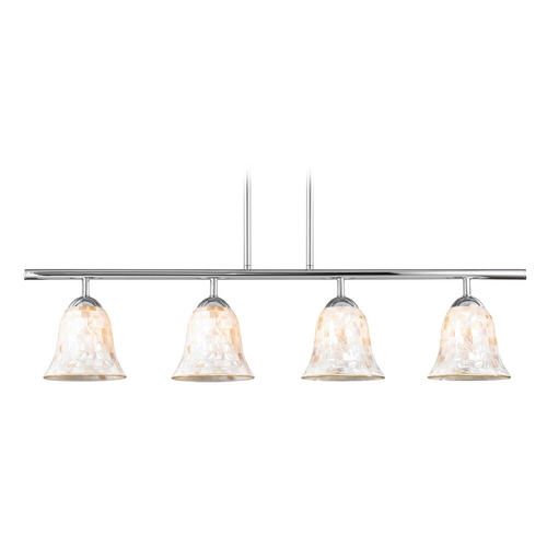 Design Classics Lighting Island Light with Beige / Cream Glass in Chrome Finish 718-26 GL9222-M