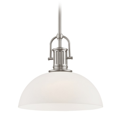 Design Classics Lighting Industrial Satin Nickel Pendant Light with White Glass 13-Inch Wide 1764-09 G1785-WH