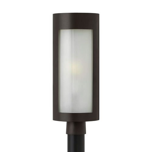 Hinkley Lighting Modern Post Light with White Glass in Bronze Finish 2021BZ-GU24