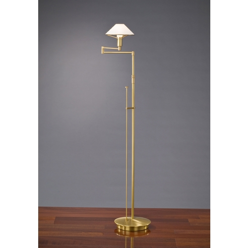 Holtkoetter Lighting Holtkoetter Modern Swing Arm Lamp with White Glass in Antique Brass Finish 9434 AB SW