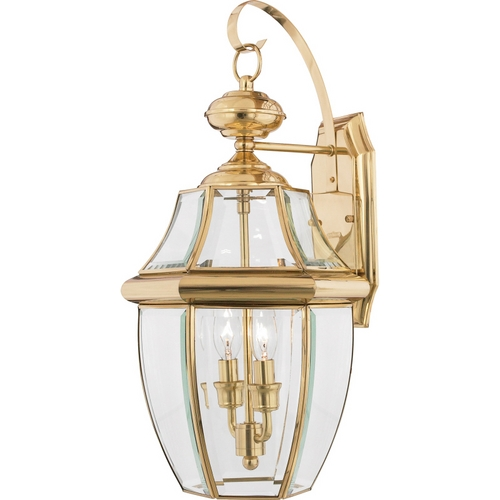 Quoizel Lighting Outdoor Wall Light with Clear Glass in Polished Brass Finish NY8317B