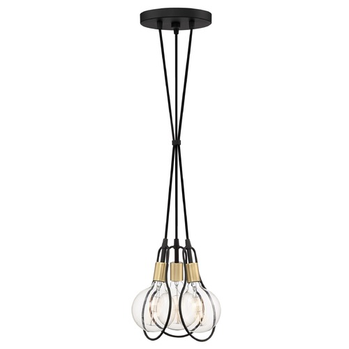 Quoizel Lighting Modern Earth Black and Painted Brass 3-Light Pendant SCE2603EK