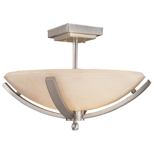 Minka Lavery Modern Semi-Flushmount Light with White Glass in Brushed Nickel Finish 1184-84