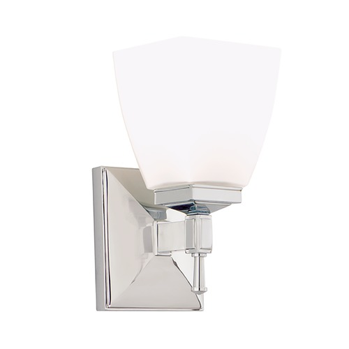 Hudson Valley Lighting Modern Sconce with White Glass in Satin Nickel Finish 651-SN