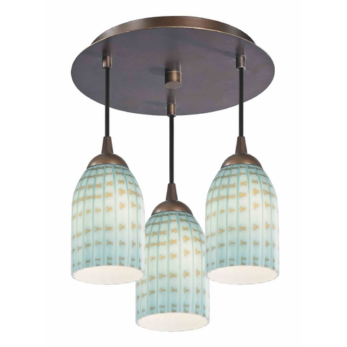 Design Classics Lighting 3-Light Semi-Flush Light - Bronze Finish 579-220 GL1003D