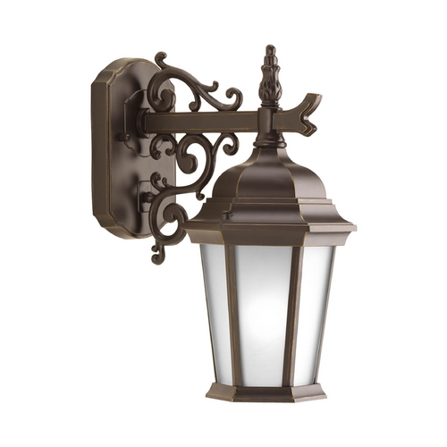 Progress Lighting Outdoor Wall Light with White Glass in Antique Bronze Finish P5682-20EB