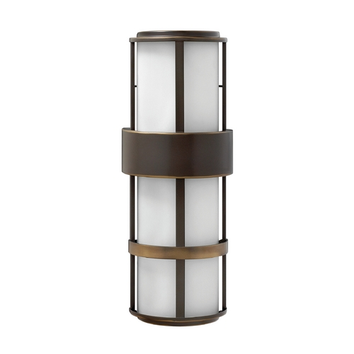 Hinkley Lighting Modern Outdoor Wall Light with White Glass in Metro Bronze Finish 1909MT