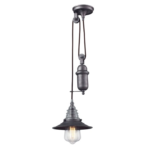 Elk Lighting Elk Lighting Insulator Glass Weathered Zinc Mini-Pendant Light 66833-1