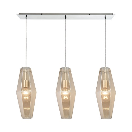 Elk Lighting Elk Lighting Pelham Polished Chrome Multi-Light Pendant with Hexagon Shade 31215/3LP