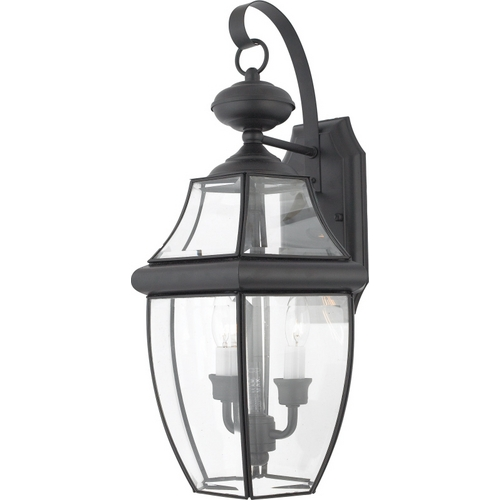 Quoizel Lighting Outdoor Wall Light with Clear Glass in Mystic Black Finish NY8317K