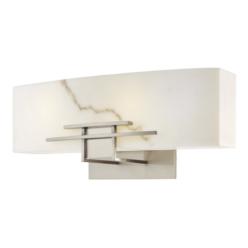 Minka Lighting Modern Bathroom Light with Alabaster Glass in Brushed Nickel Finish 6162-84-PL