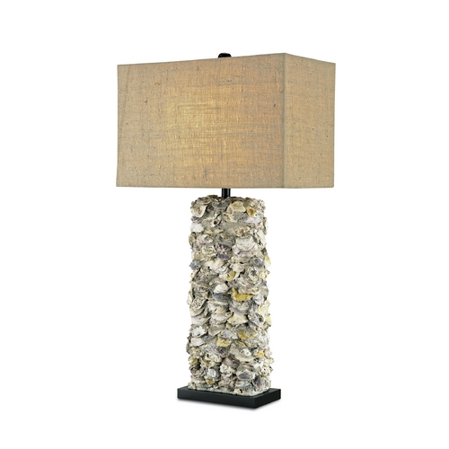 Currey and Company Lighting Table Lamp with Brown Tones Grasscloth Shade in Satin Black/natural Oyster Finish 6332