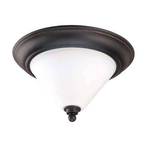 Nuvo Lighting Flushmount Light with White Glass in Mission Dust Bronze Finish 60/1705