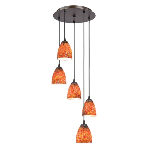 Design Classics Lighting Modern Multi-Light Pendant Light with Art Glass and 5-Lights 580-220 GL1012MB
