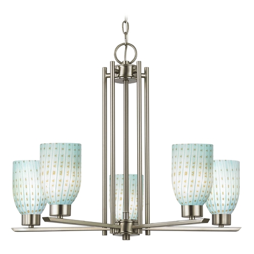 Design Classics Lighting Chandelier with Blue Art Glass in Satin Nickel Finish - 5-Lights 1120-1-09 GL1003D