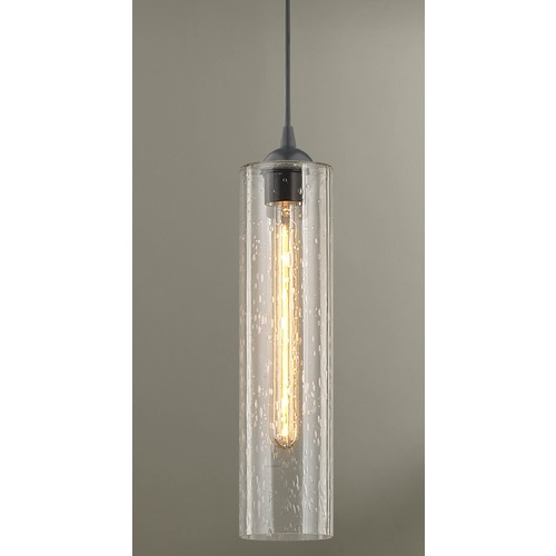 Design Classics Lighting Gala Fuse Matte Black Mini-Pendant Light with Cylindrical Shade 582-07 GL1641C
