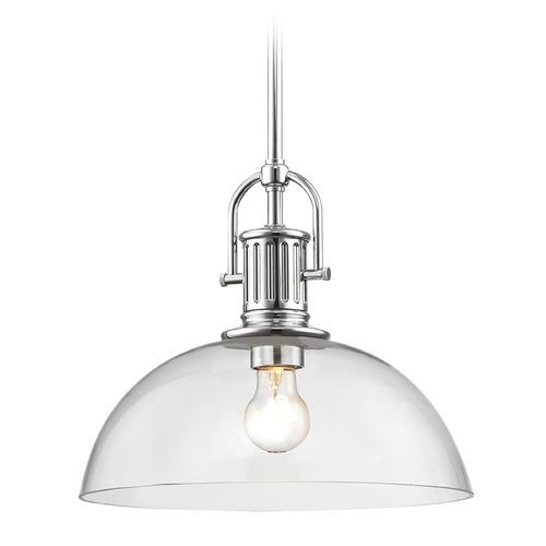 Design Classics Lighting Industrial Chrome Pendant Light with Clear Glass 13-Inch Wide 1764-26 G1785-CL