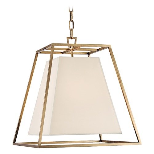 Hudson Valley Lighting Kyle 4 Light Pendant Light Square Shade - Aged Brass 6917-AGB-WS