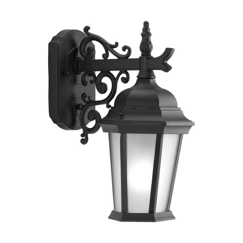 Progress Lighting Outdoor Wall Light with White Glass in Textured Black Finish P5682-31EB