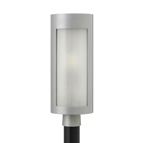 Hinkley Lighting Modern Post Light with White Glass in Titanium Finish 2021TT-GU24