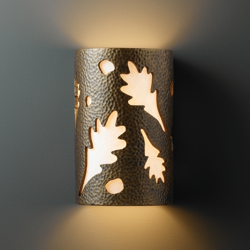 Justice Design Group Sconce Wall Light with White in Hammered Brass Finish CER-5465-HMBR