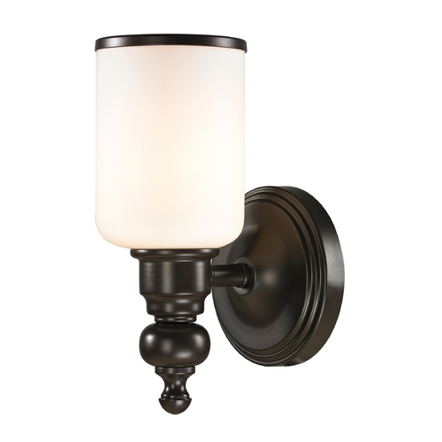 Elk Lighting Sconce Wall Light with White Glass in Oil Rubbed Bronze Finish 11590/1