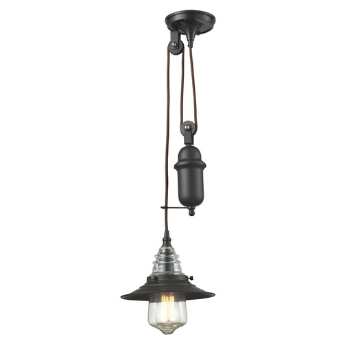 Elk Lighting Elk Lighting Insulator Glass Oil Rubbed Bronze Mini-Pendant Light 66843-1