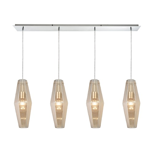Elk Lighting Elk Lighting Pelham Polished Chrome Multi-Light Pendant with Hexagon Shade 31215/4LP