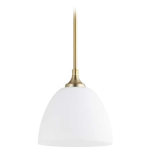 Quorum Lighting Quorum Lighting Enclave Aged Brass Mini-Pendant Light with Bowl / Dome Shade 3159-80