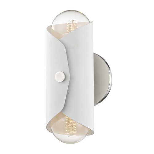 Mitzi by Hudson Valley Mid-Century Modern Sconce Polished Nickel Mitzi Immo by Hudson Valley H172102-PN/WH