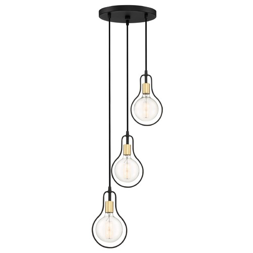 Quoizel Lighting Modern Earth Black and Painted Brass 3-Light Pendant SCE2703EK