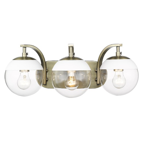 Golden Lighting Golden Lighting Dixon Aged Brass Bathroom Light with White Accent 3219-BA3AB-WHT