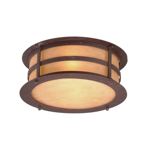 Troy Lighting Close To Ceiling Light with Amber Glass in Natural Bronze Finish C9251NB