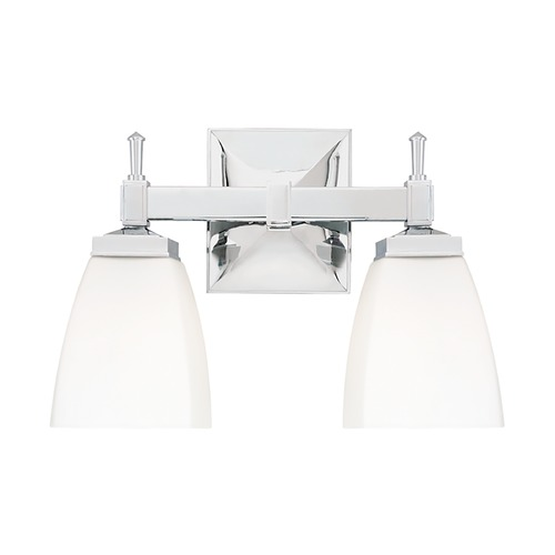 Hudson Valley Lighting Modern Bathroom Light with White Glass in Polished Chrome Finish 652-PC