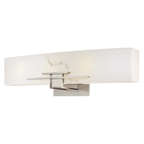 Minka Lighting Modern Bathroom Light with Alabaster Glass in Brushed Nickel Finish 6163-84-PL