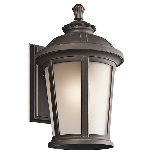 Kichler Lighting Kichler Outdoor Wall Light with White Glass in Rubbed Bronze Finish 49411RZ