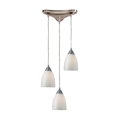 Elk Lighting Modern Multi-Light Pendant Light with Art Glass and 3-Lights 416-3WS