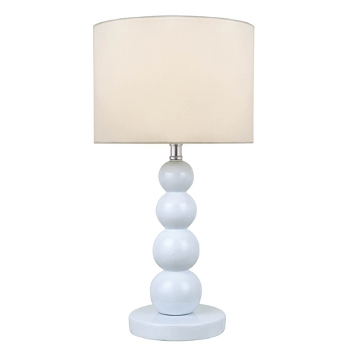 Lite Source Lighting White Stacked Orb Table Lamp with Drum Shade LS-22217WHT